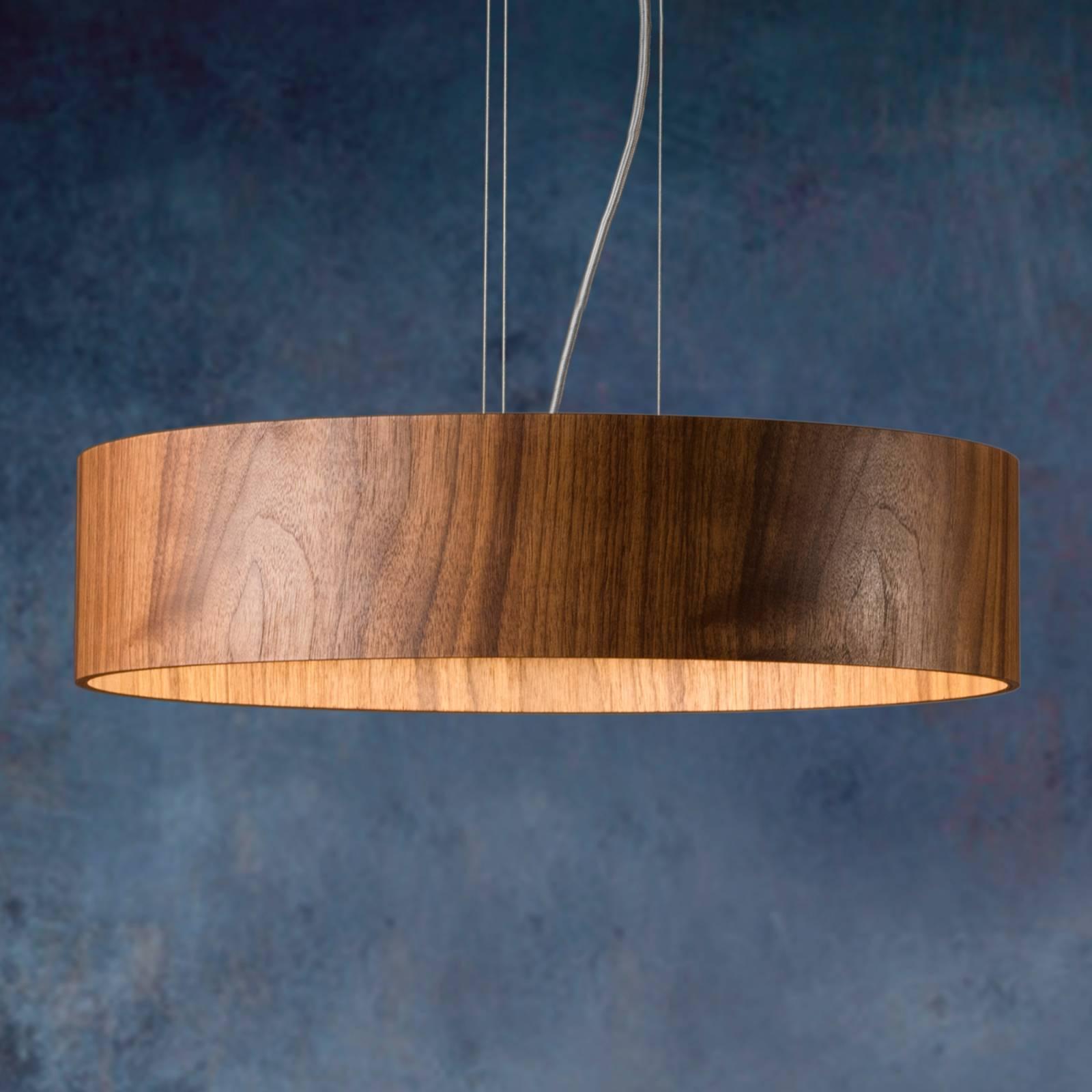 Lampa wisząca Lara Wood z LED, drewno orzechowe