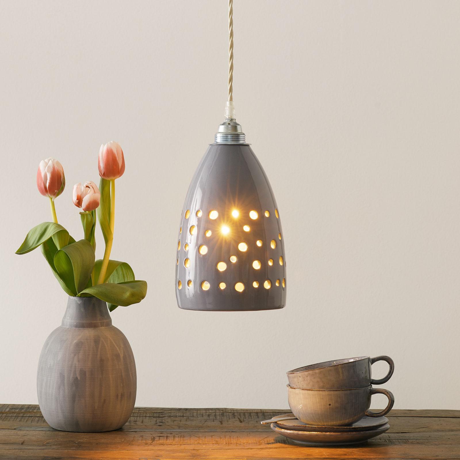 Ceramiczna lampa wisząca S1815 szara