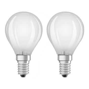 OSRAM LED-dråpepære E14 4 W varmhvit 2-pakk
