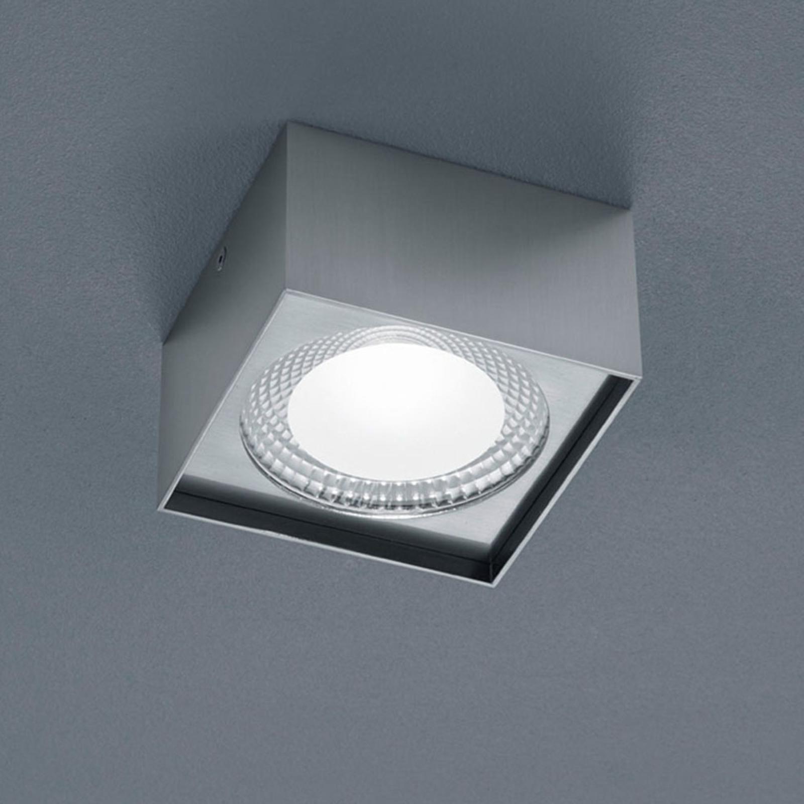 Helestra Kari LED plafondlamp, hoekig, nikkel