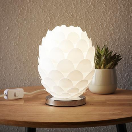 Lampa stołowa Marees, biała, Ø 15cm