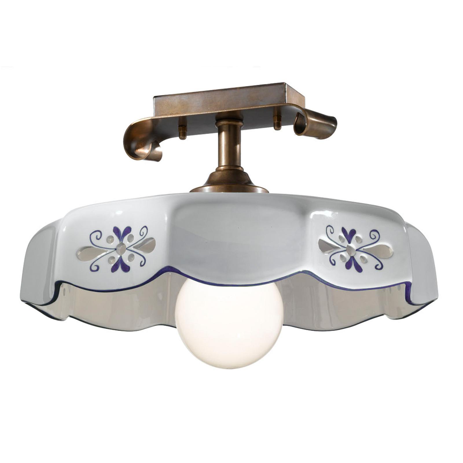 Lampa sufitowa Marostica styl wiejski, niebieska