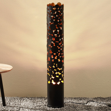 Lampa stojąca LED Coins, efekt migotania, czarna
