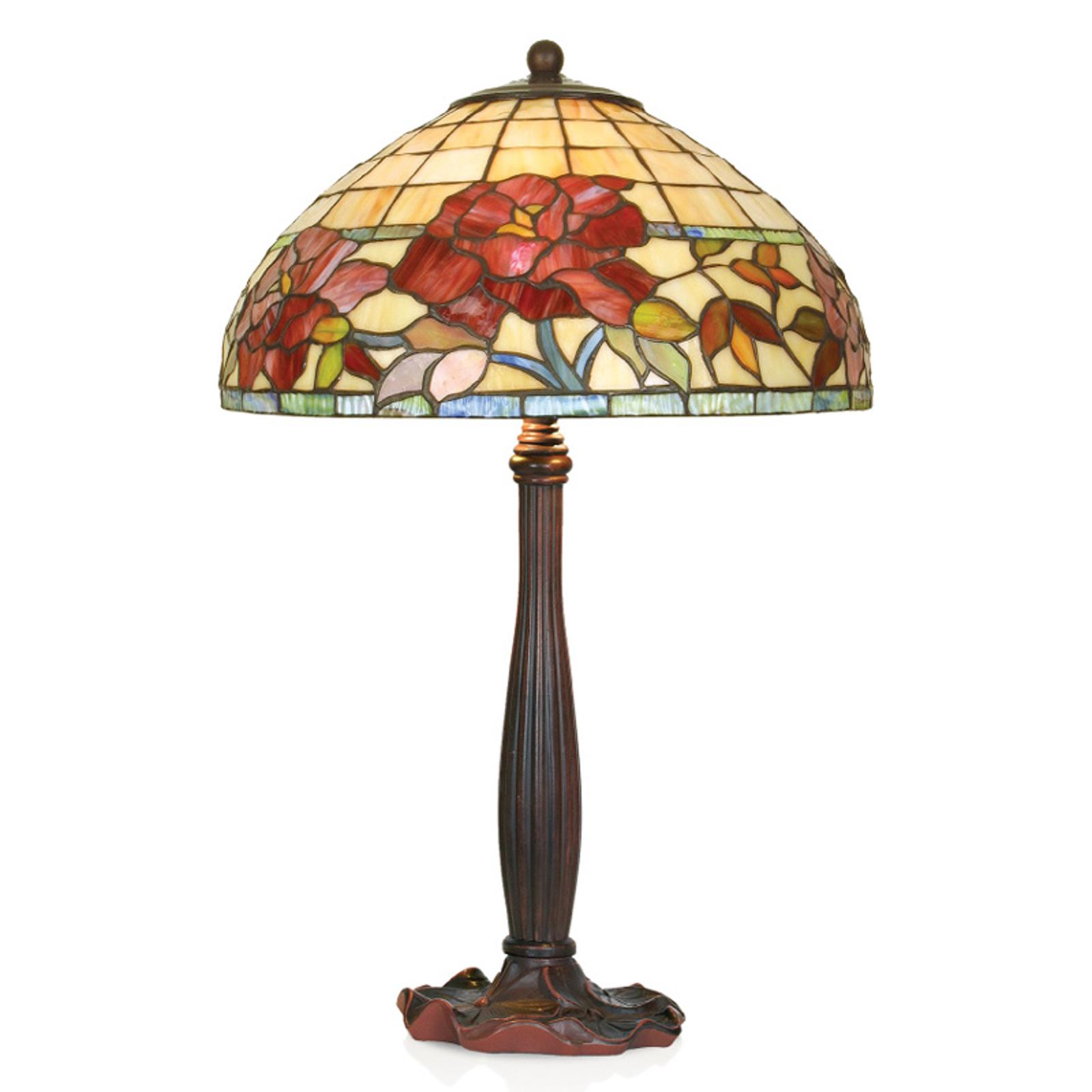 Handtillverkad bordslampa Esmee i tiffanystil
