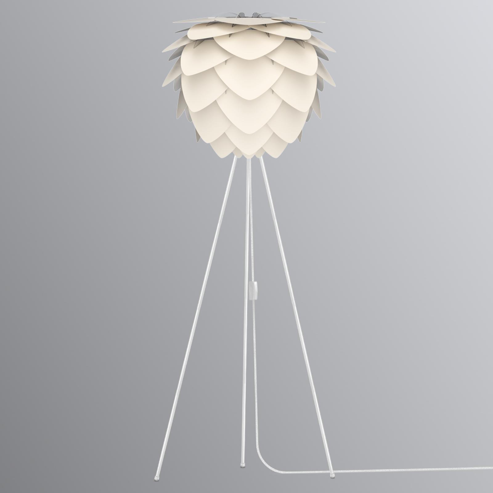 Trebent stomme vit – golvlampa Aluvia pärlemor