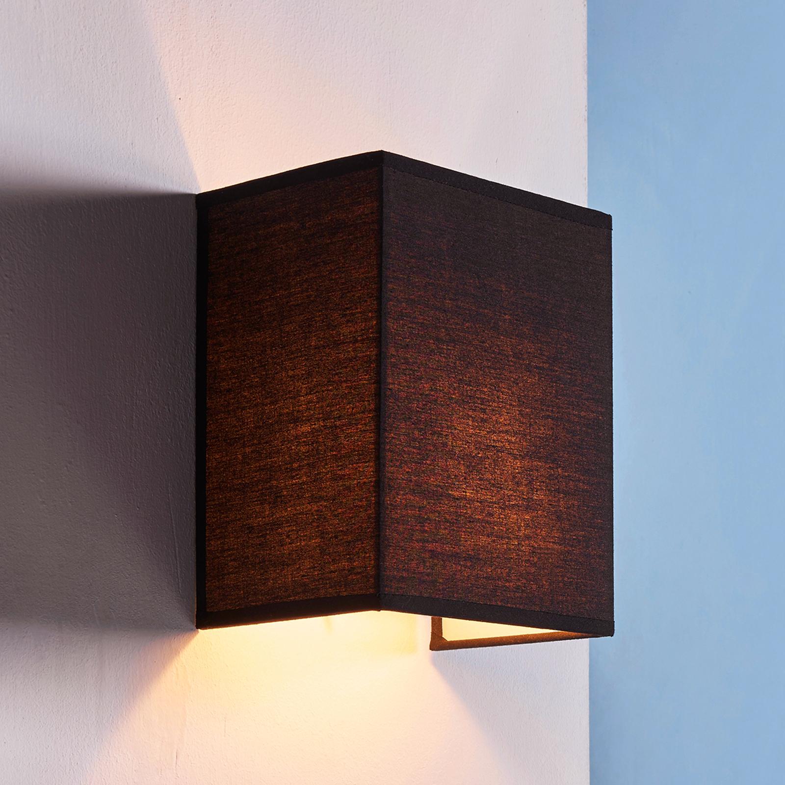 Zwarte stoffen wandlamp Annalisa, hoekige vorm