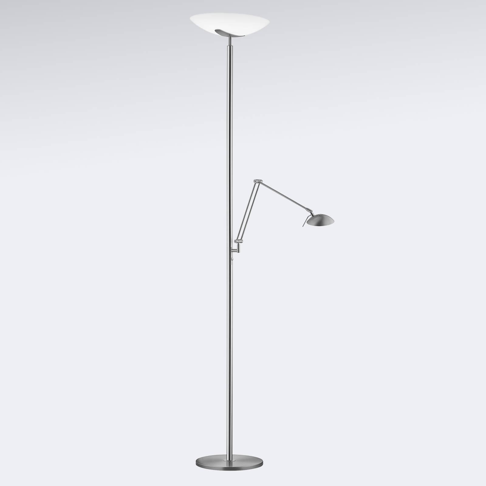 LED uplighter Lya met leeslamp in nikkel-chroom