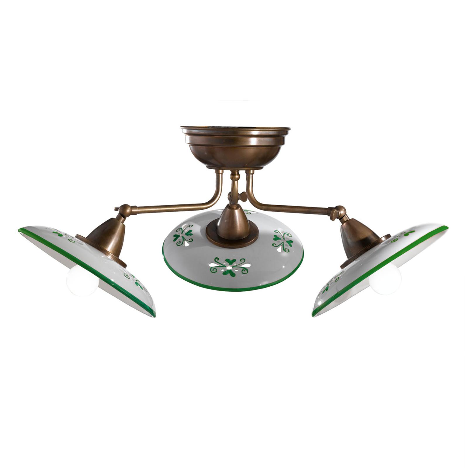Bassano - keramiktaklampa med tre ljuskällor, grön