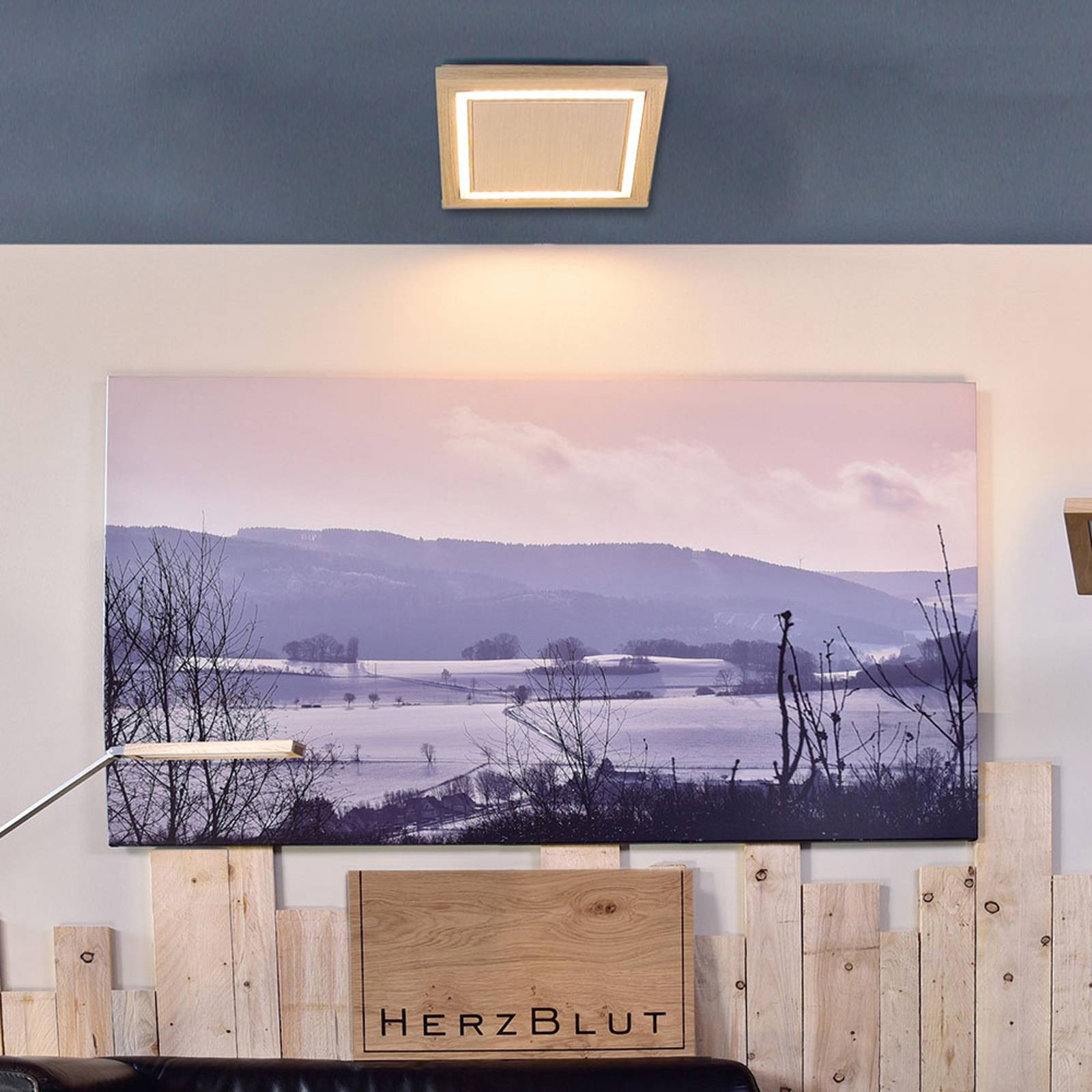 HerzBlut Otto O plafondlamp vierkant eiken natuur