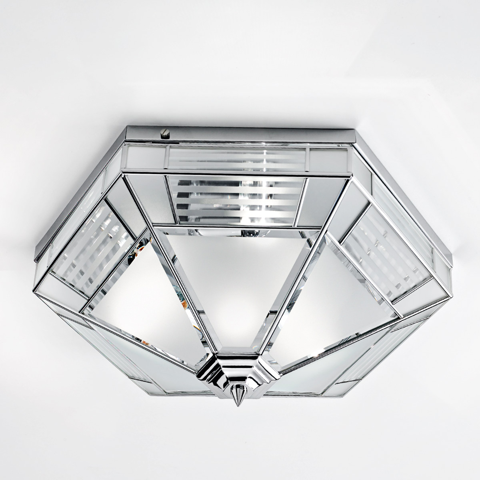 Giana sexkantig plafondlampa, krom