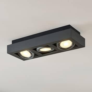 LED stropní osvětlení Ronka, GU10, 3zdrojové šedé