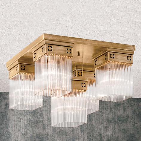 Pětižárovkové stropní světlo Frieda z mosazi