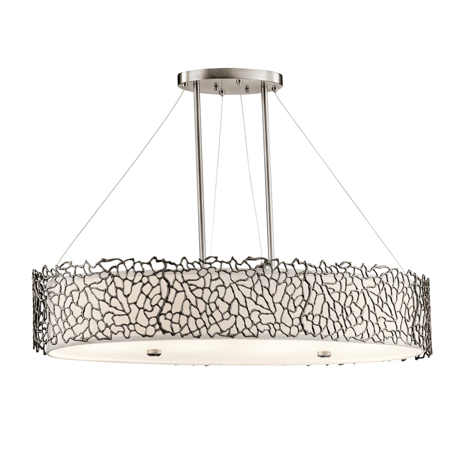 Owalna lampa wisząca Silver Coral