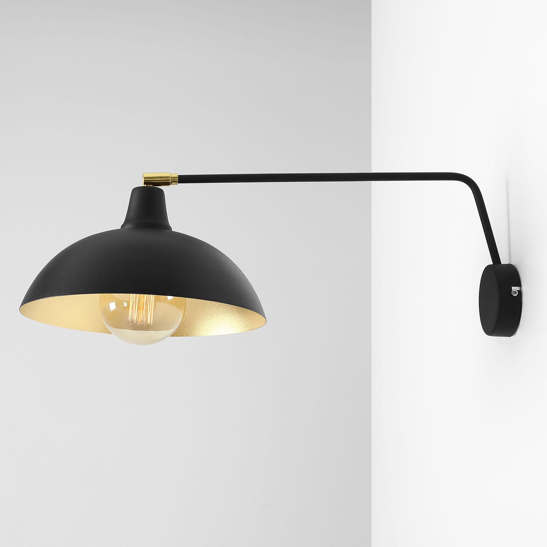 Wandlamp 1036, 1-lamp, zwart-goud