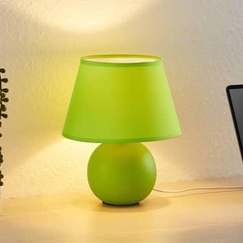 Lindby Calliota látková stolní lampa kulatá zelená