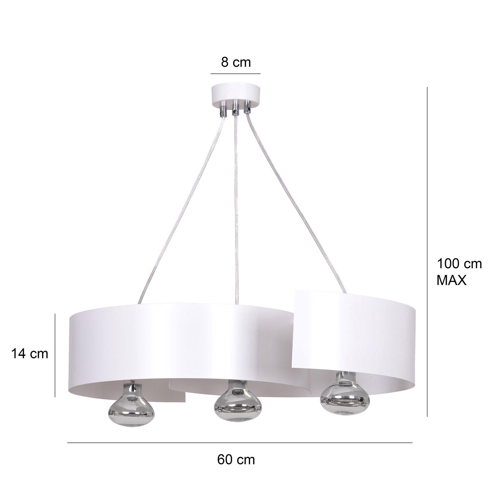 Lampa wisząca Vixon 3, 3-punktowa, biała