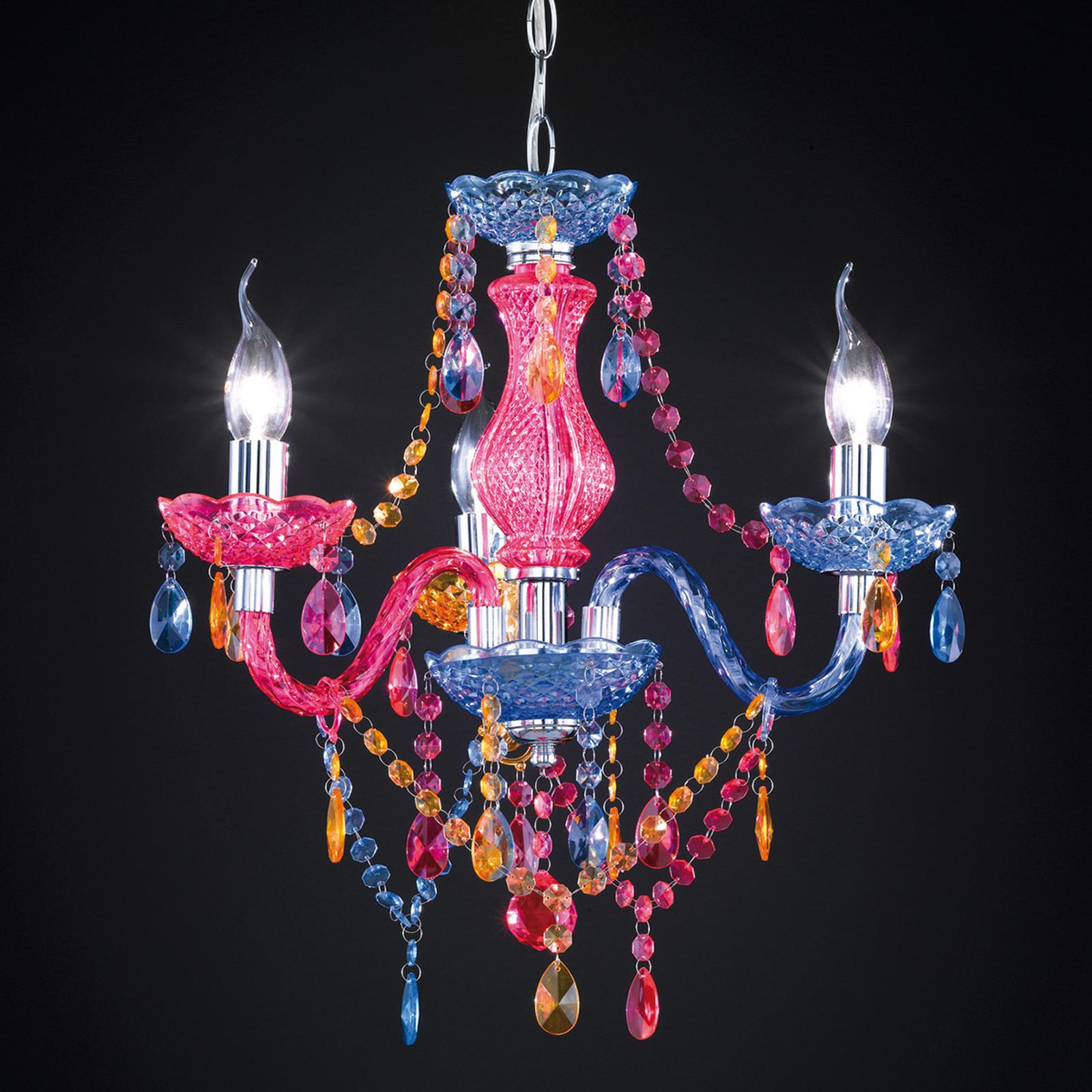 Flerfarget lysekrone Perdita med akrylpåheng