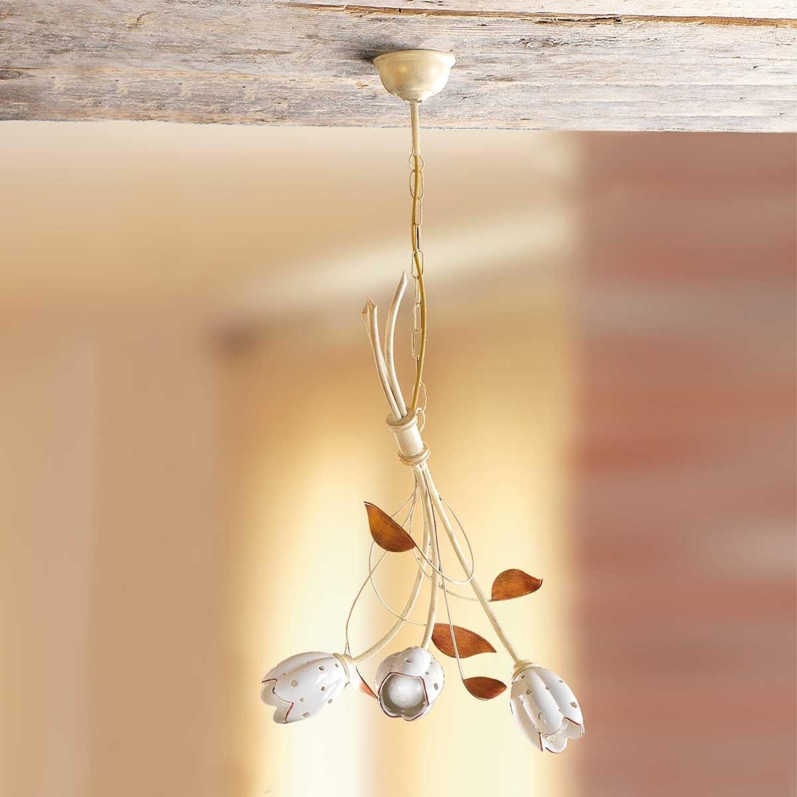 Blomstret TULIPANO hengelampe med tre lys
