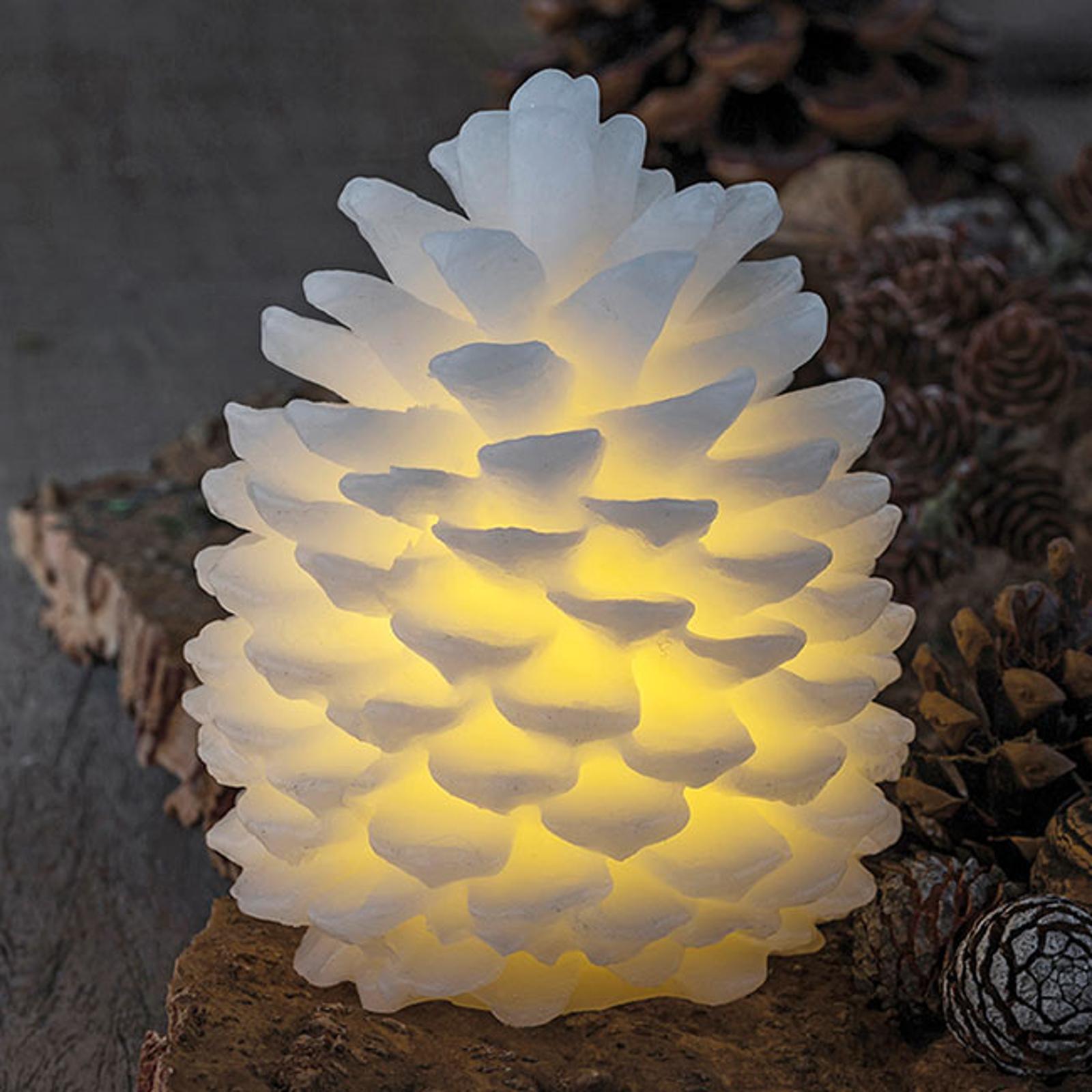 Candela LED Clara a forma di pigna, alta 14 cm