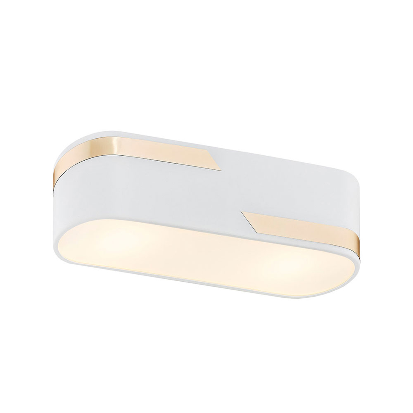 Taklampe Tilden, 30 cm, hvit/gull