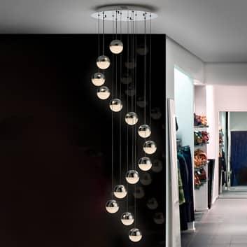 Lampa wisząca LED Sphere, 14-punktowa, chrom