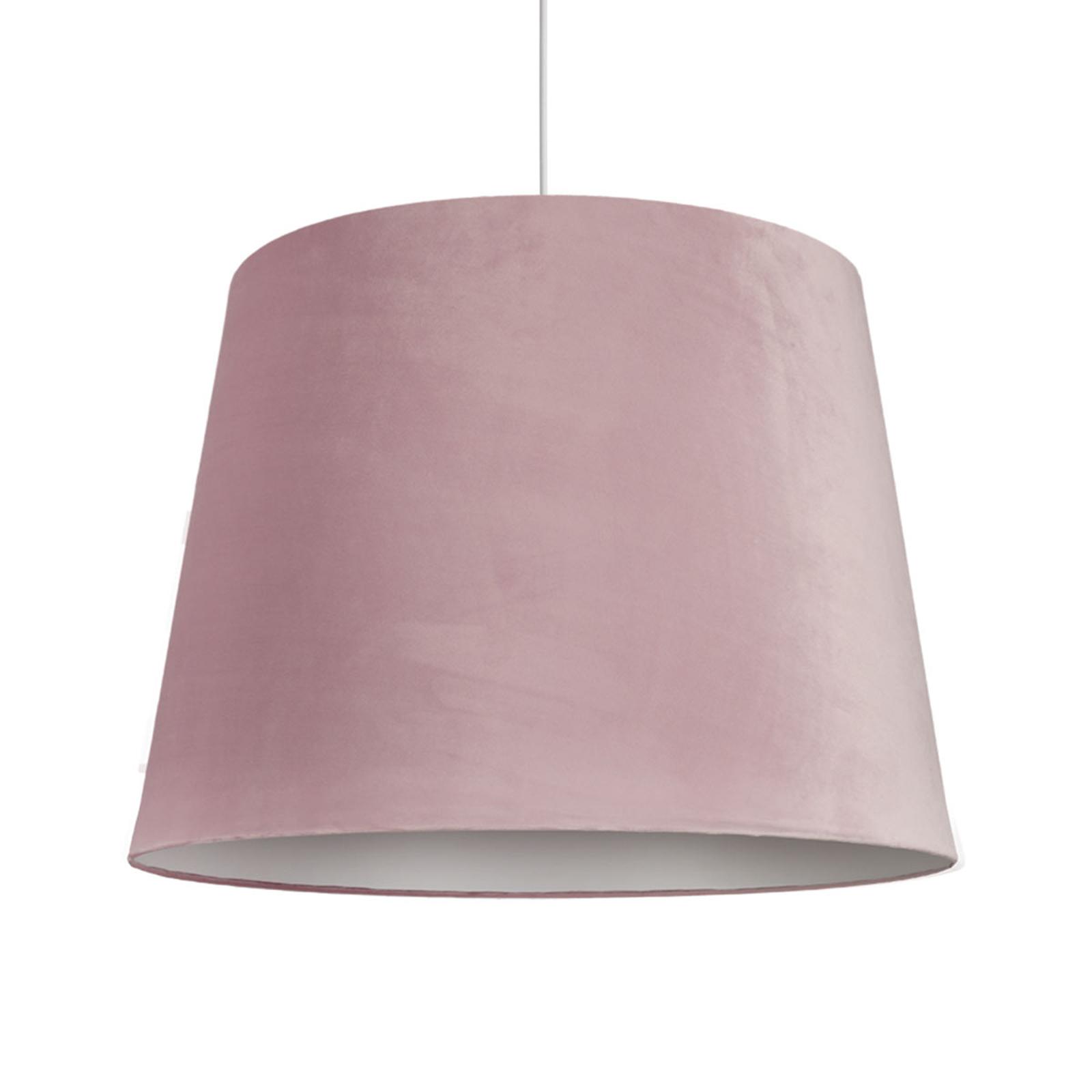 Hengelampe Cone L med fløyelsskjerm, Ø 59 cm, rosa