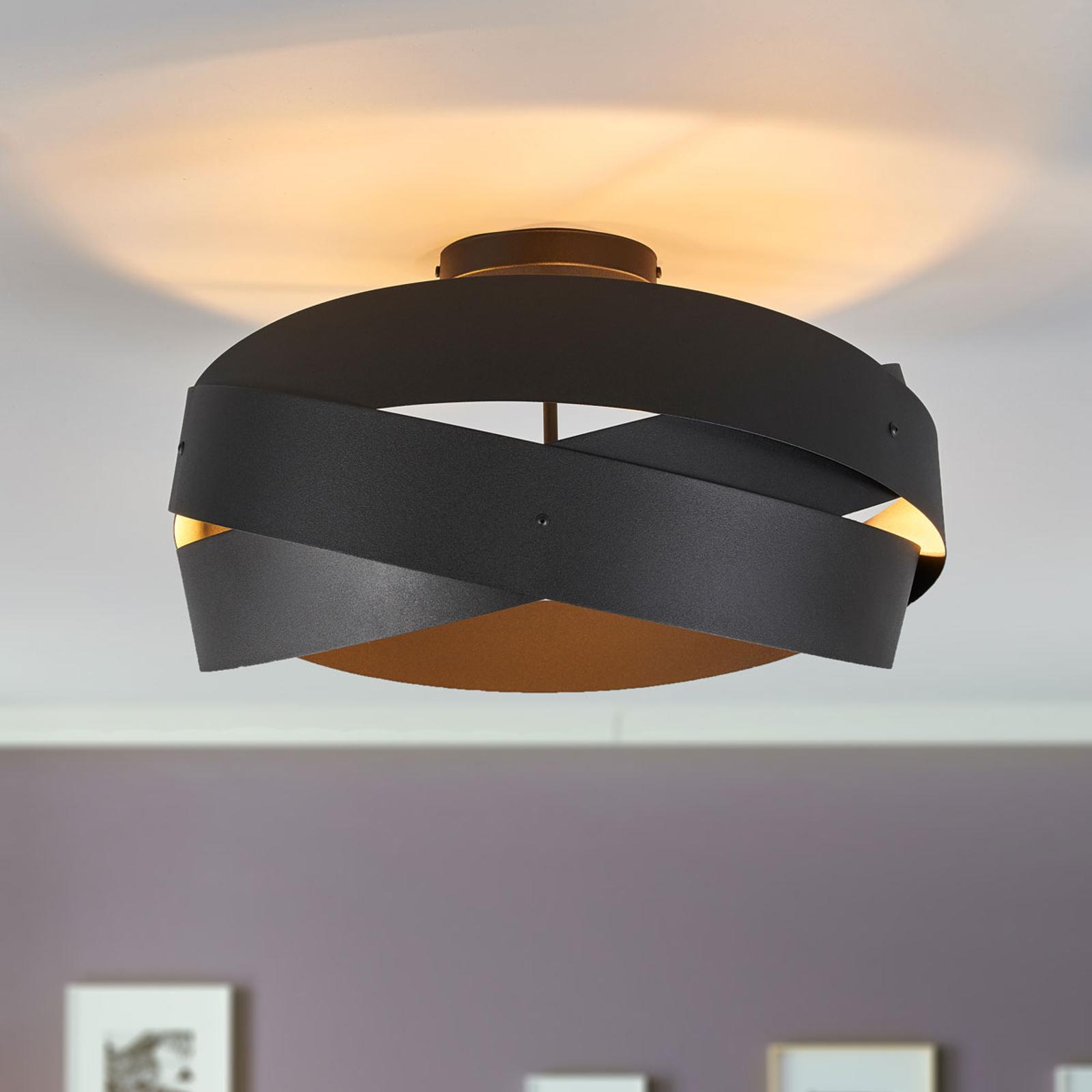 Zwarte plafondlamp Tornado