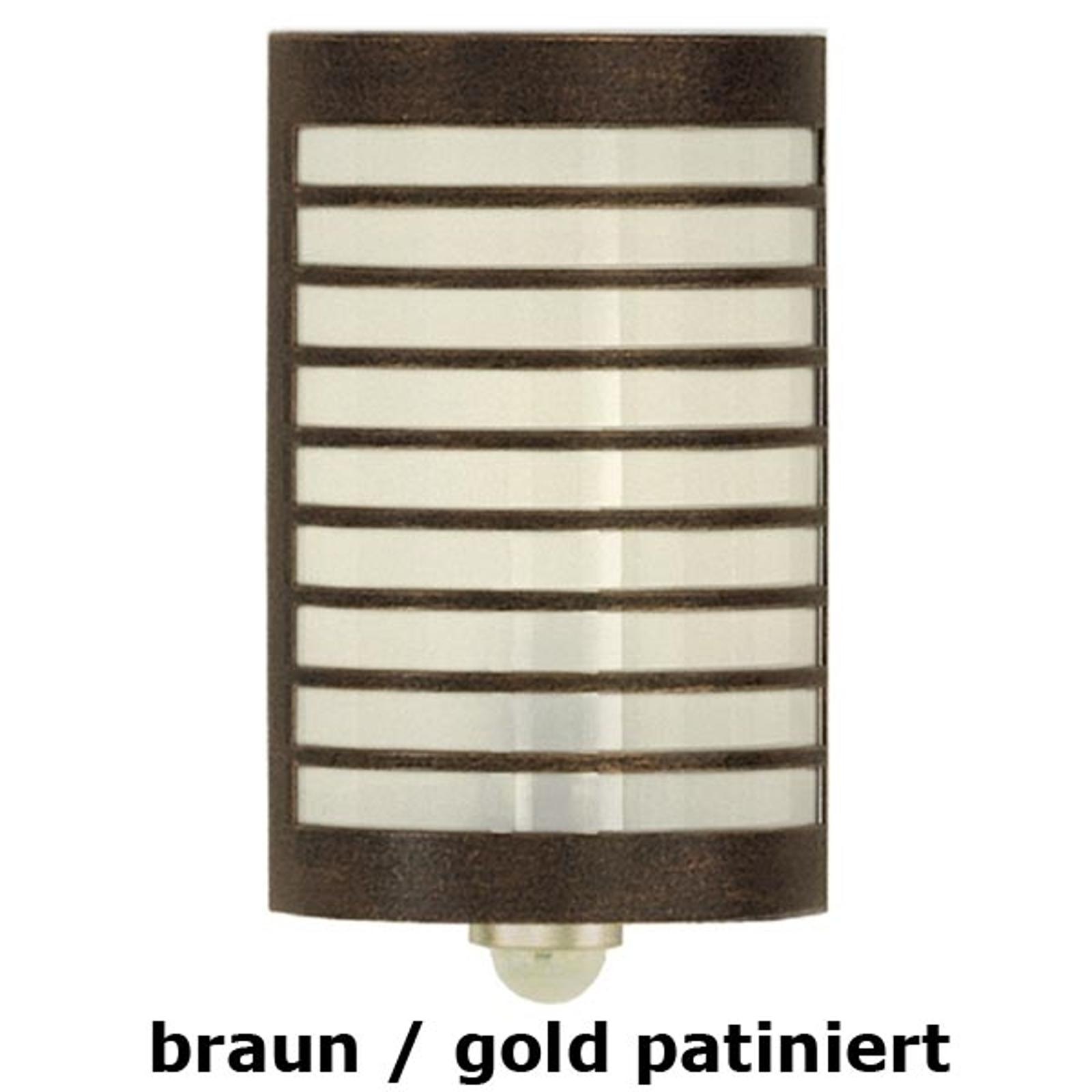 Wandlamp TERU met bewegingss. bruin-goud gepat.