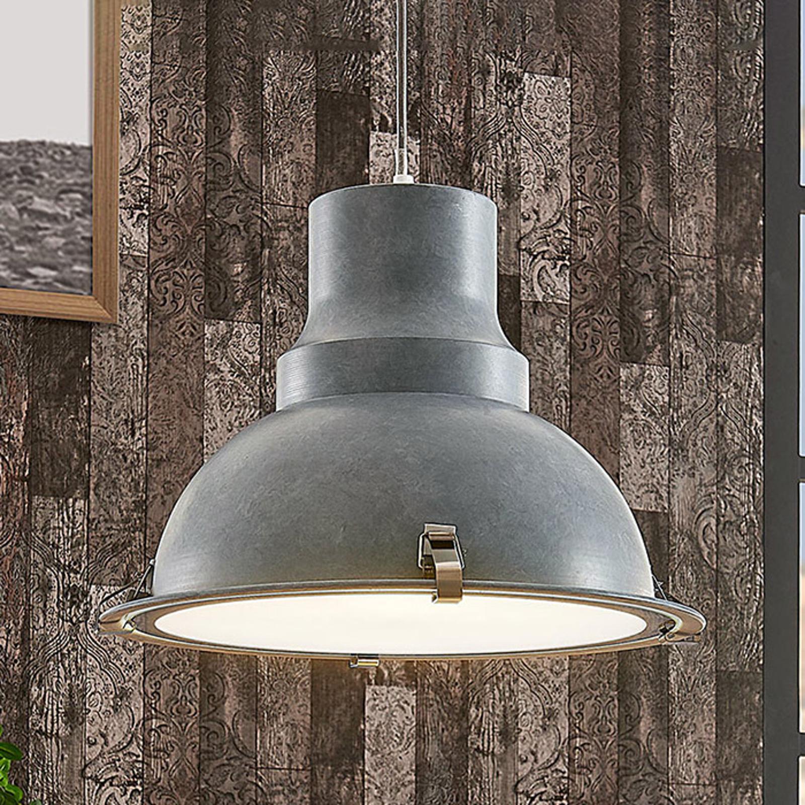 Lámpara colgante metálica Percival, gris hormigón