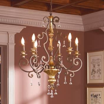 Elegant ljuskrona Marquette med kristallhängen