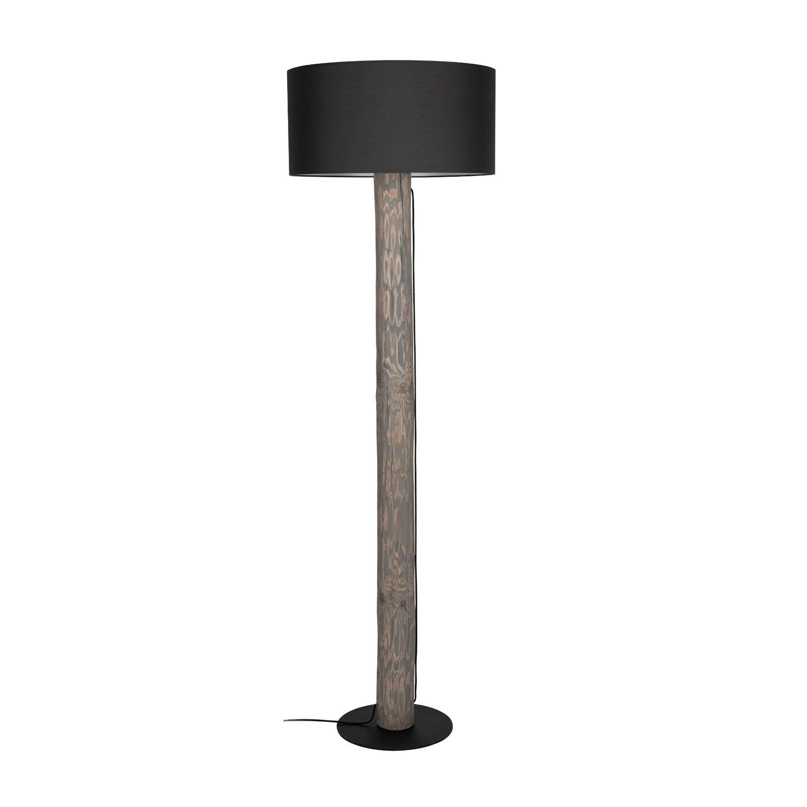 Pino Simpel standerlampe, antracit skærm, grå fod