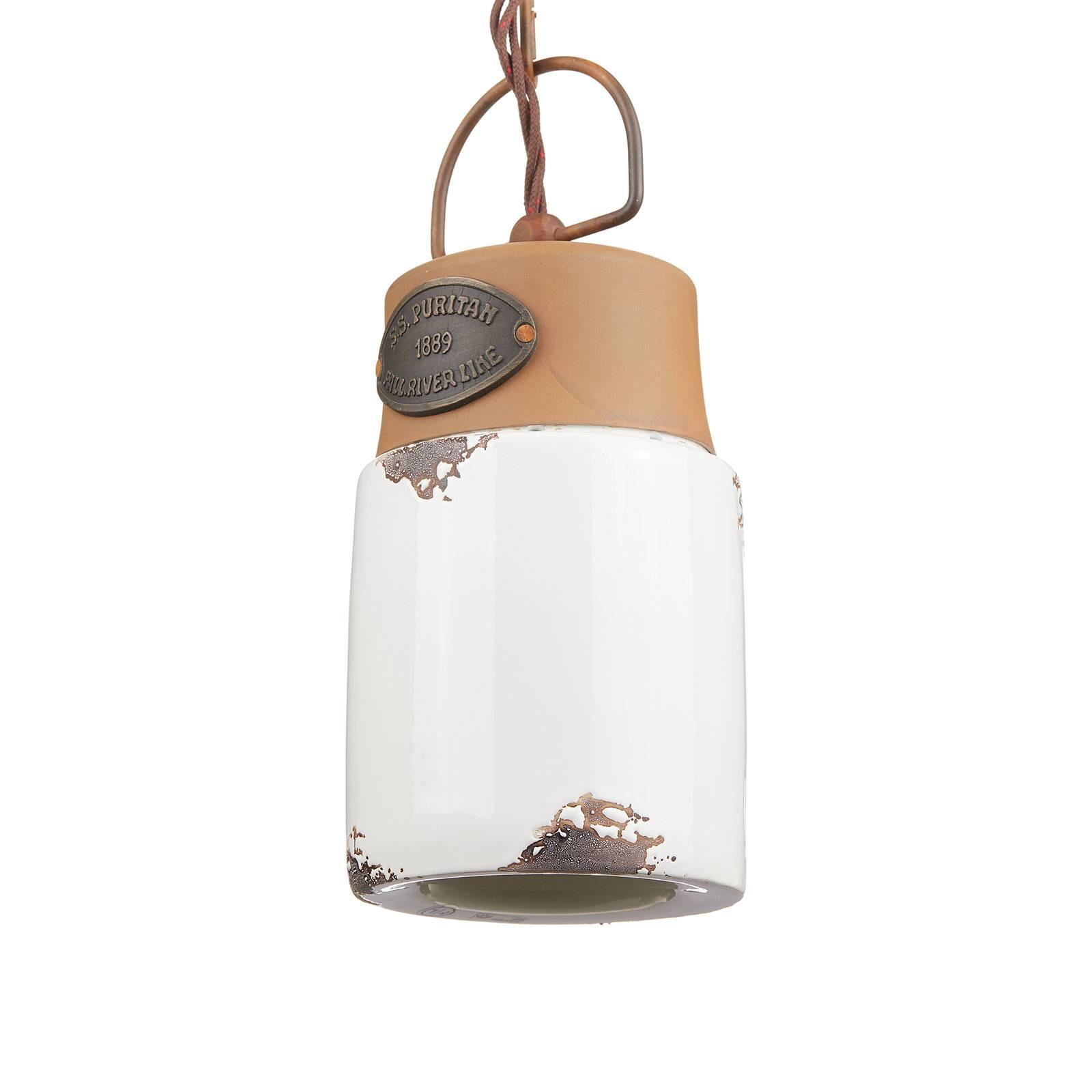 Hanglamp C1620, keramiek en metaal, wit