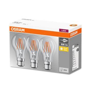 LED filamentpære B22d 7W, varmhvid, 3'er sæt