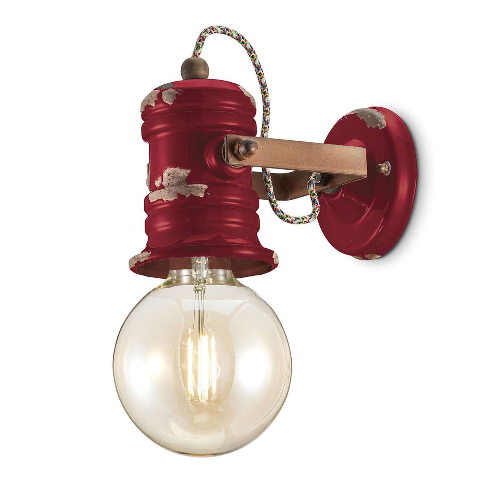 Wandlamp C1843 in vintage design wijnrood
