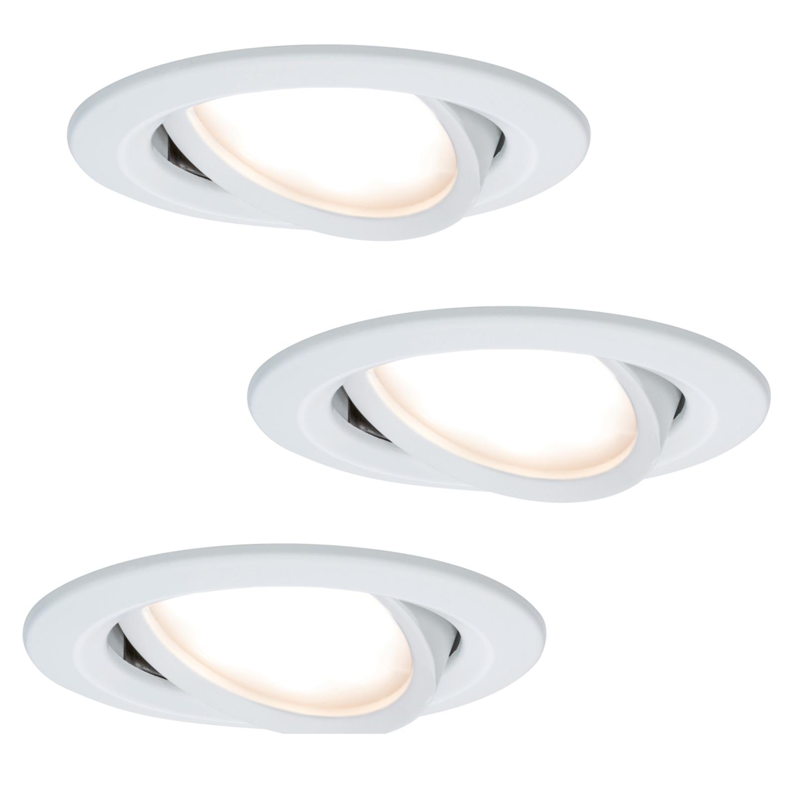 3 spots encastrables LED Coin Slim, blancs, IP23