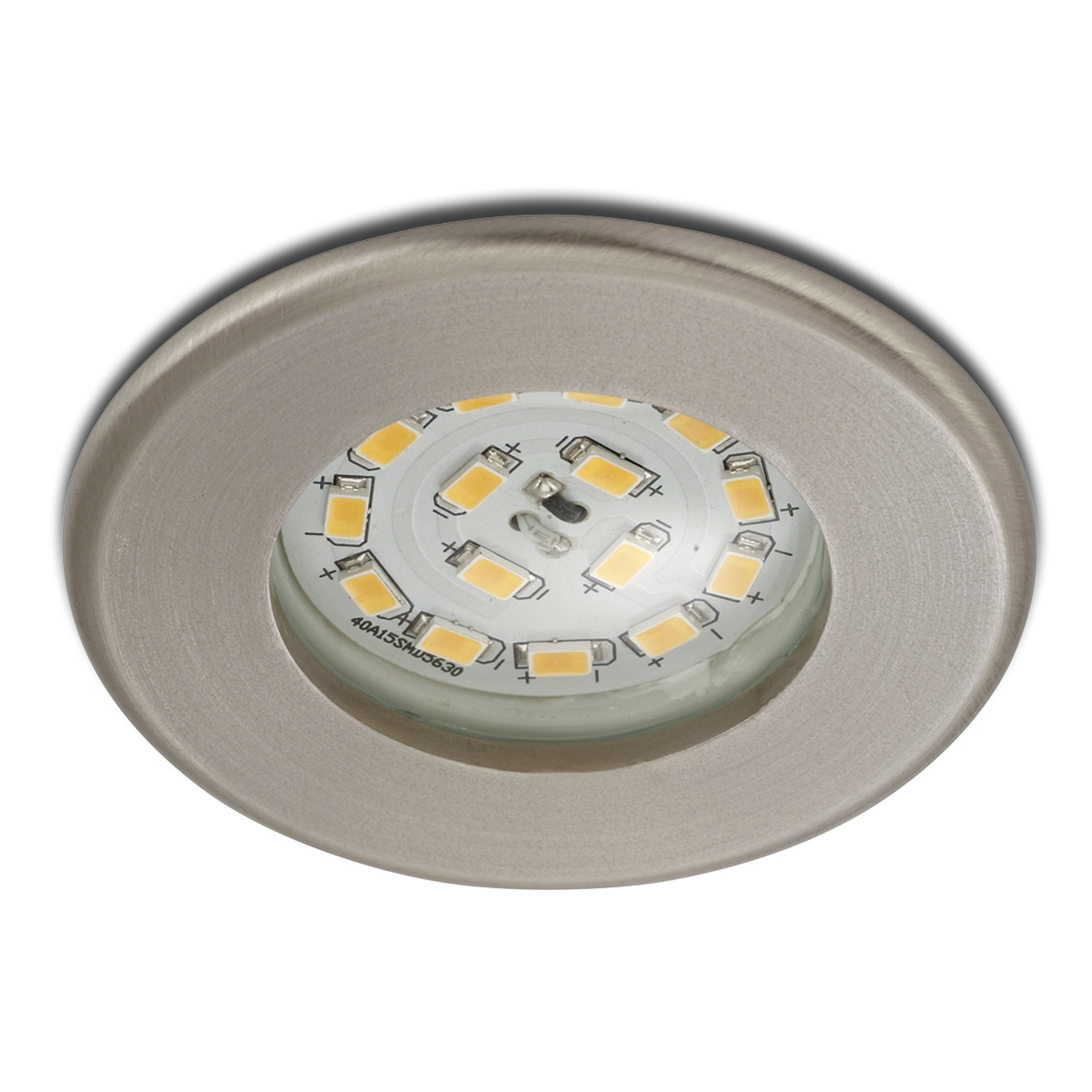 Effektiv LED-inbyggnadsspot Nikas IP44, nickel