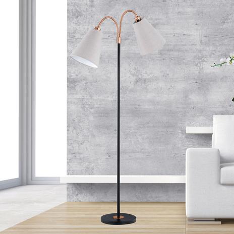 Dwupunktowa, czarno-brązowa lampa stojąca Hopper