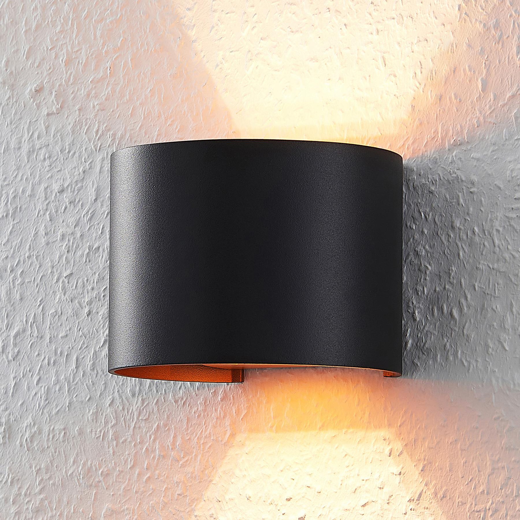 Zwart-gouden LED wandlamp Zuzana, G9