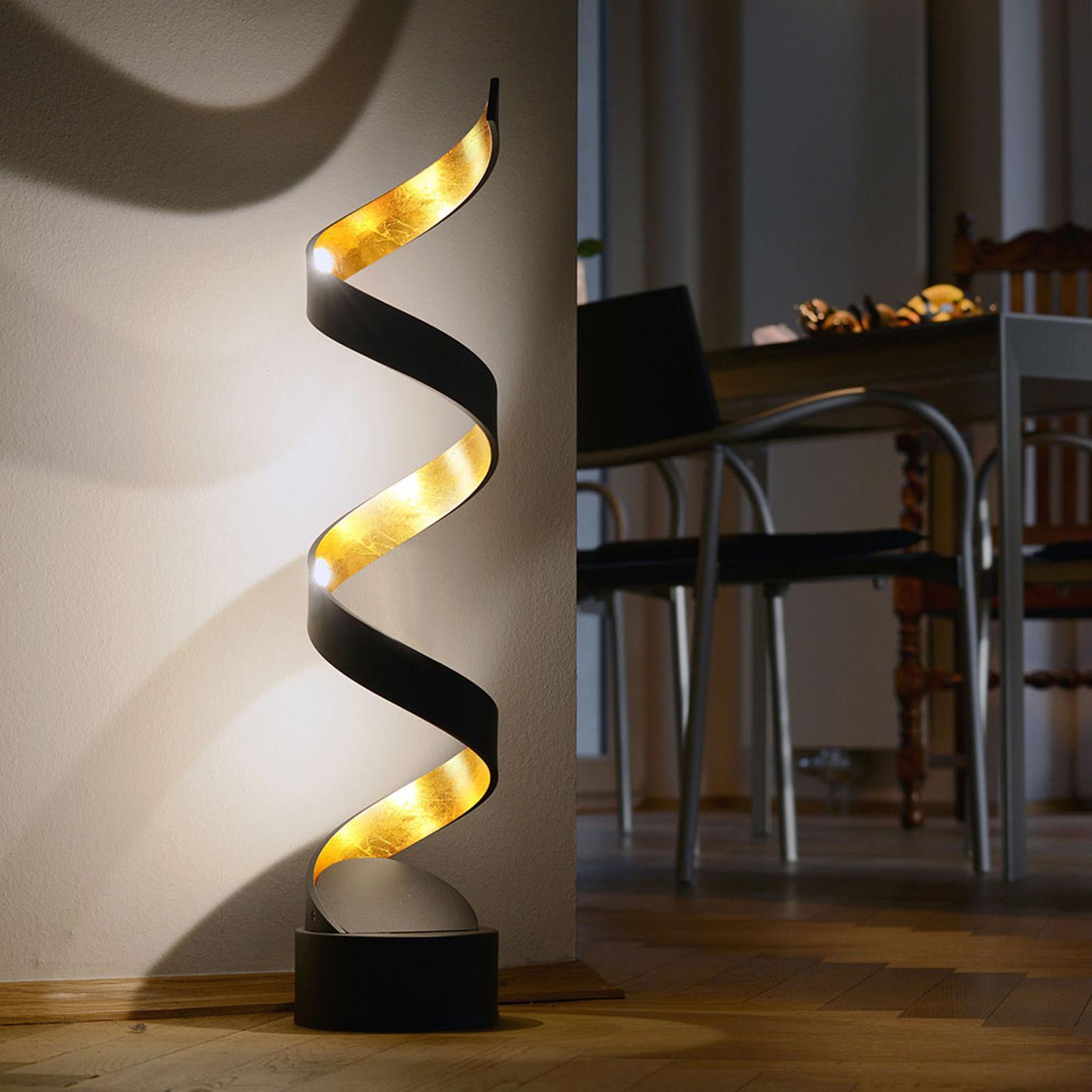 LED-bordslampa Helix, höjd 66 cm, svart-guld