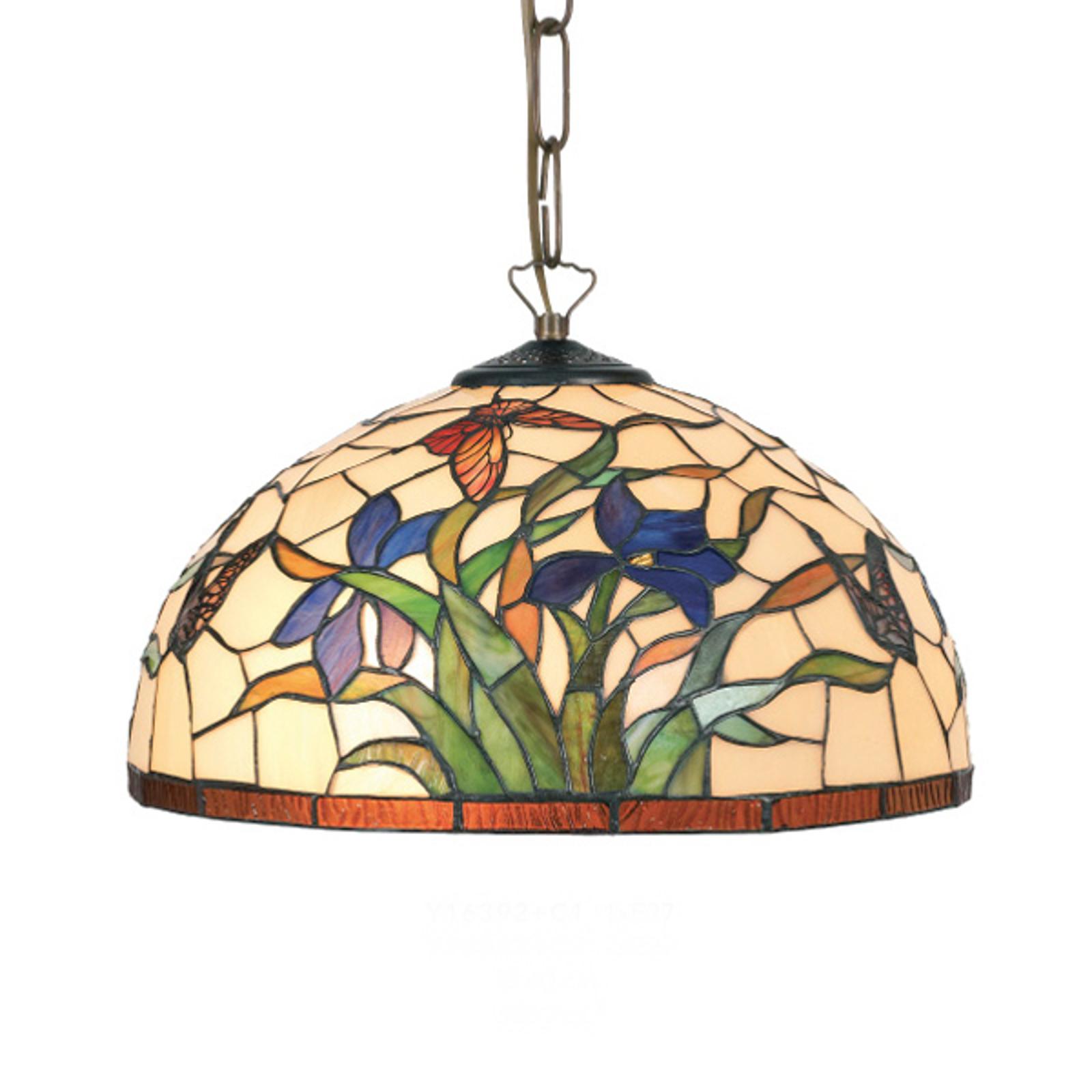 Suspension Elanda style Tiffany à 2 lampes