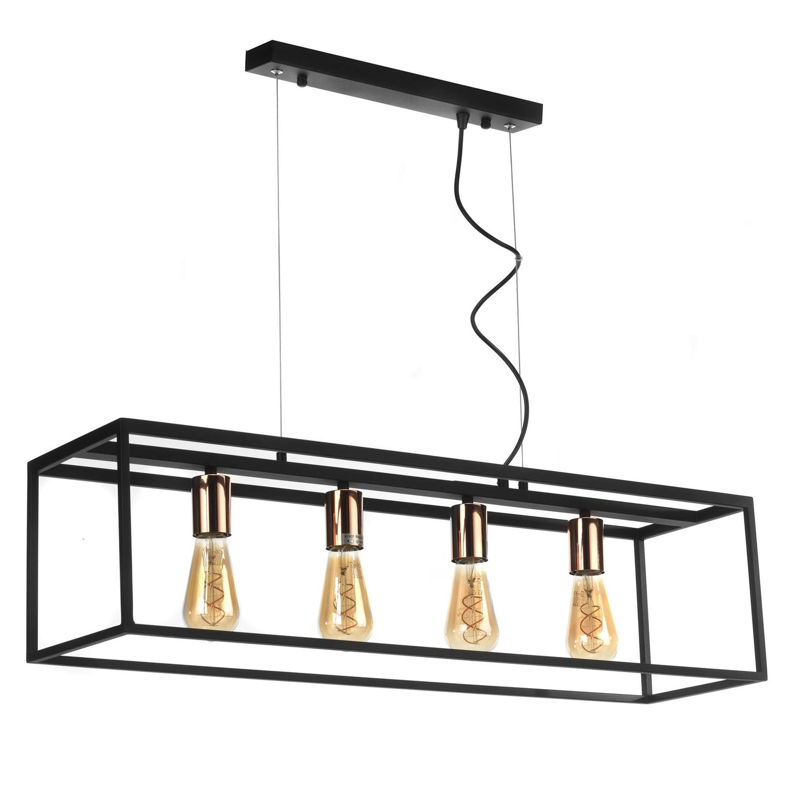 Suspension Floki parallélépipède ouvert, 4 lampes