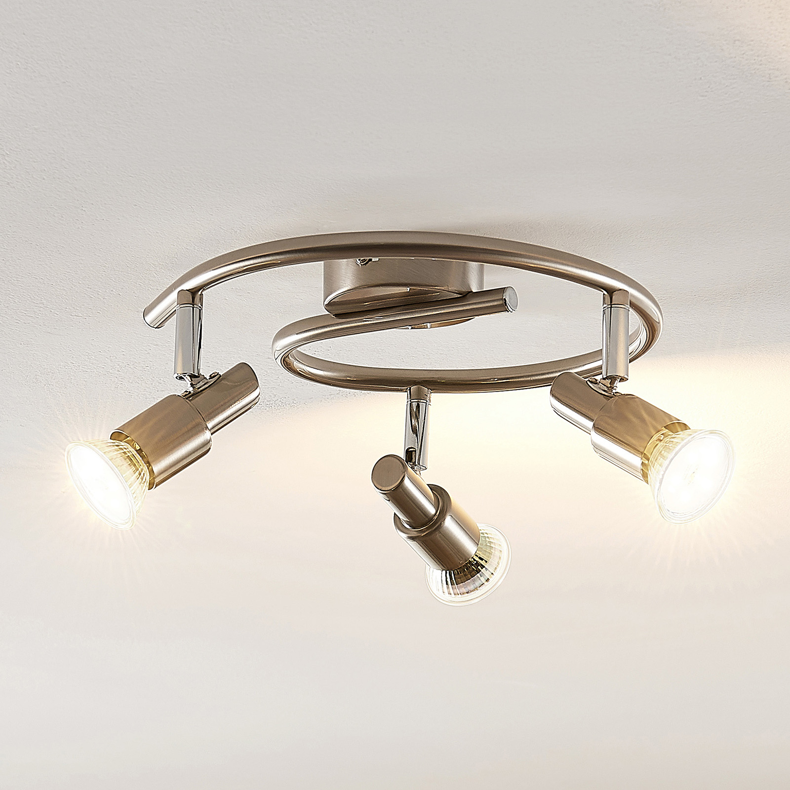 ELC Farida LED-taklampa, nickel, 3 lampor