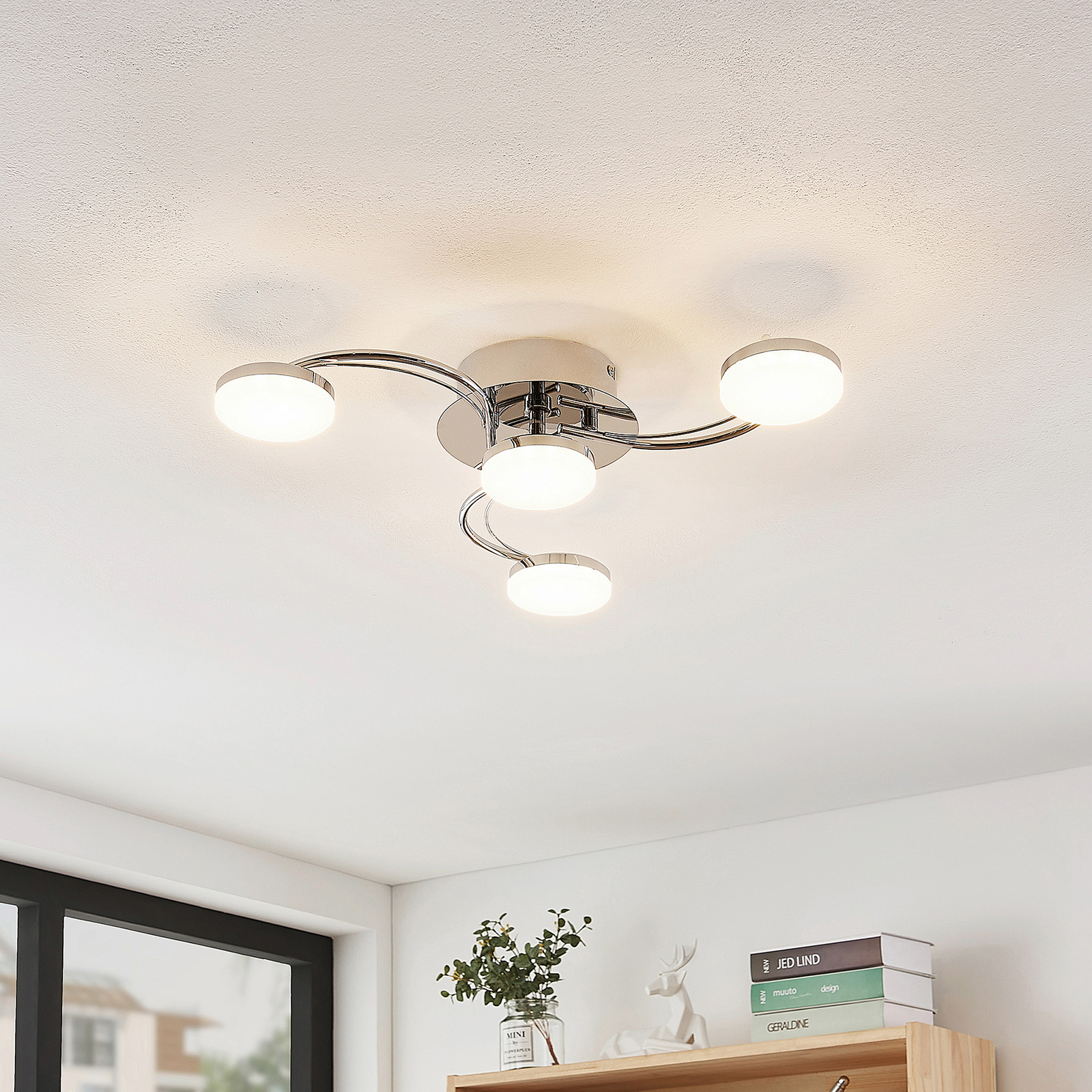 Lindby Dyln plafonnier LED, spirale, 4 lampes