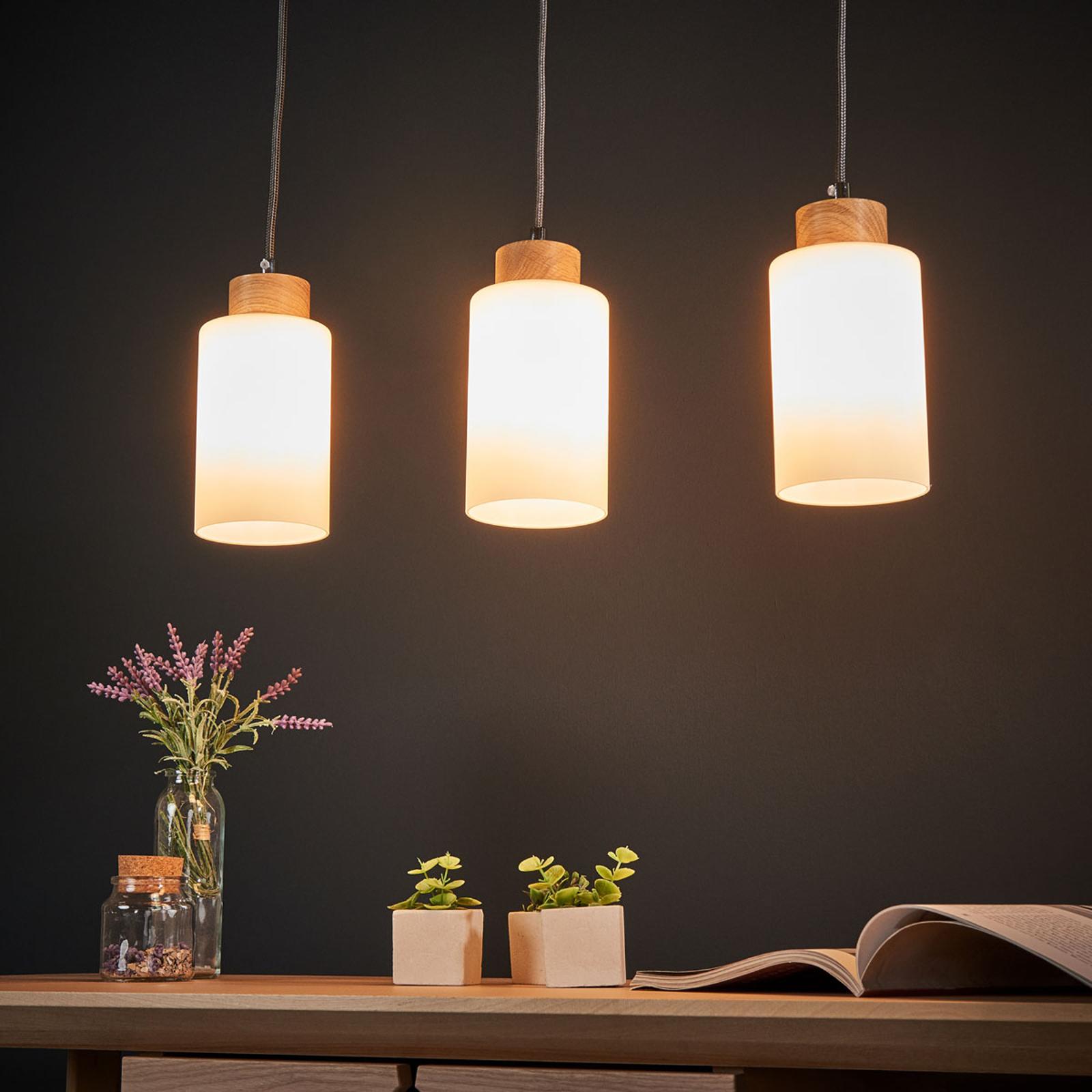 Suspension Bosco avec barre chêne huilé 3 lampes
