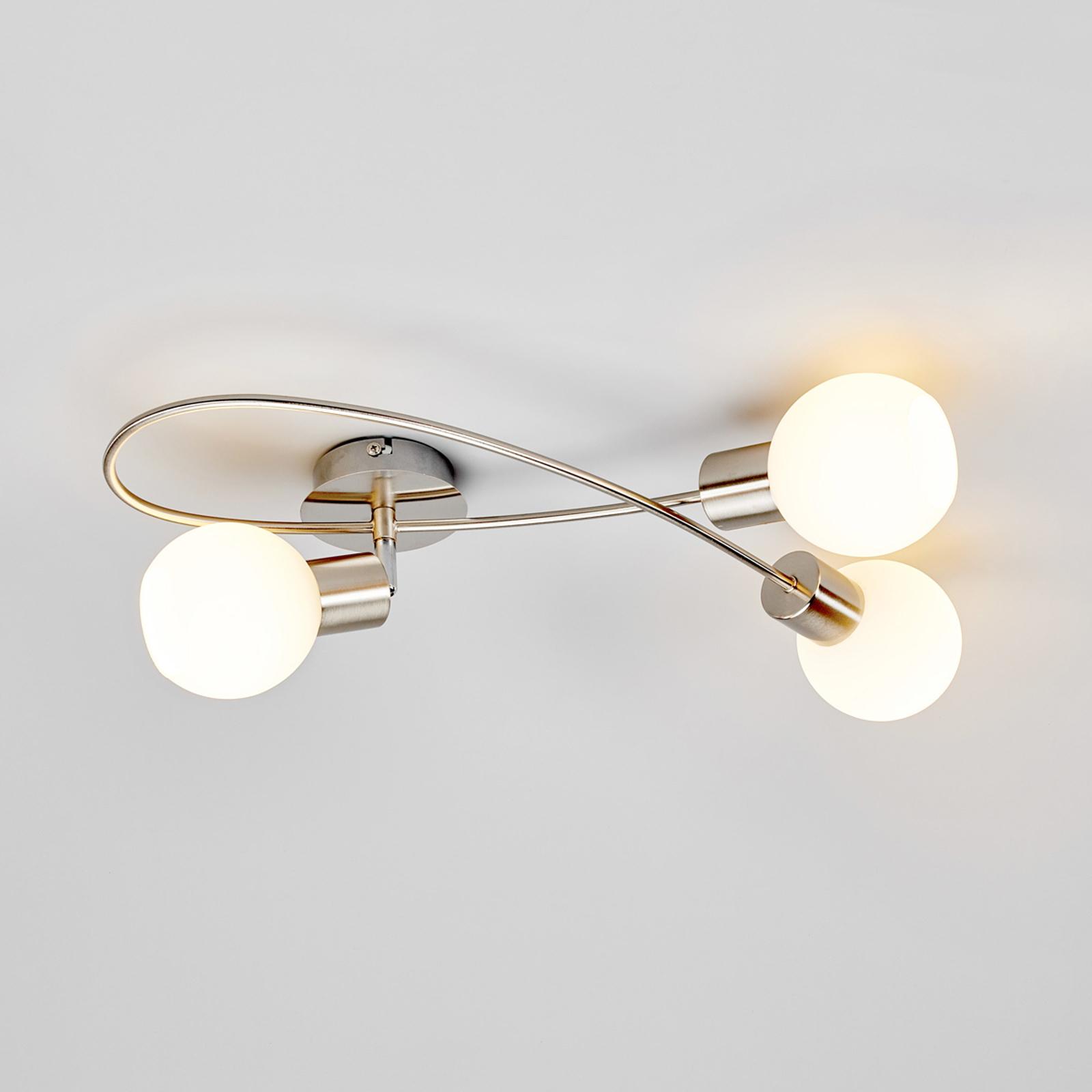 LED-Deckenleuchte Elaina 3fl länglich nickel matt