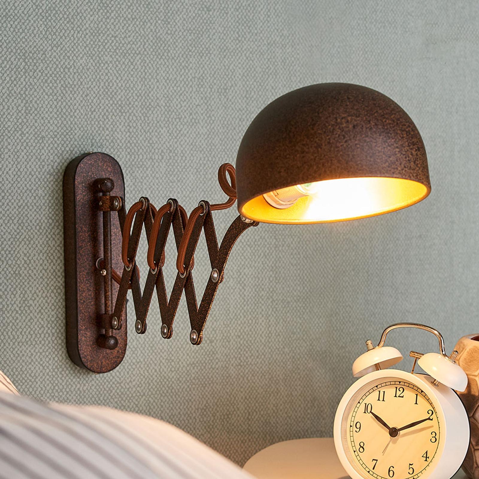 Uitschuifbare wandlamp Curtis, roestkleur