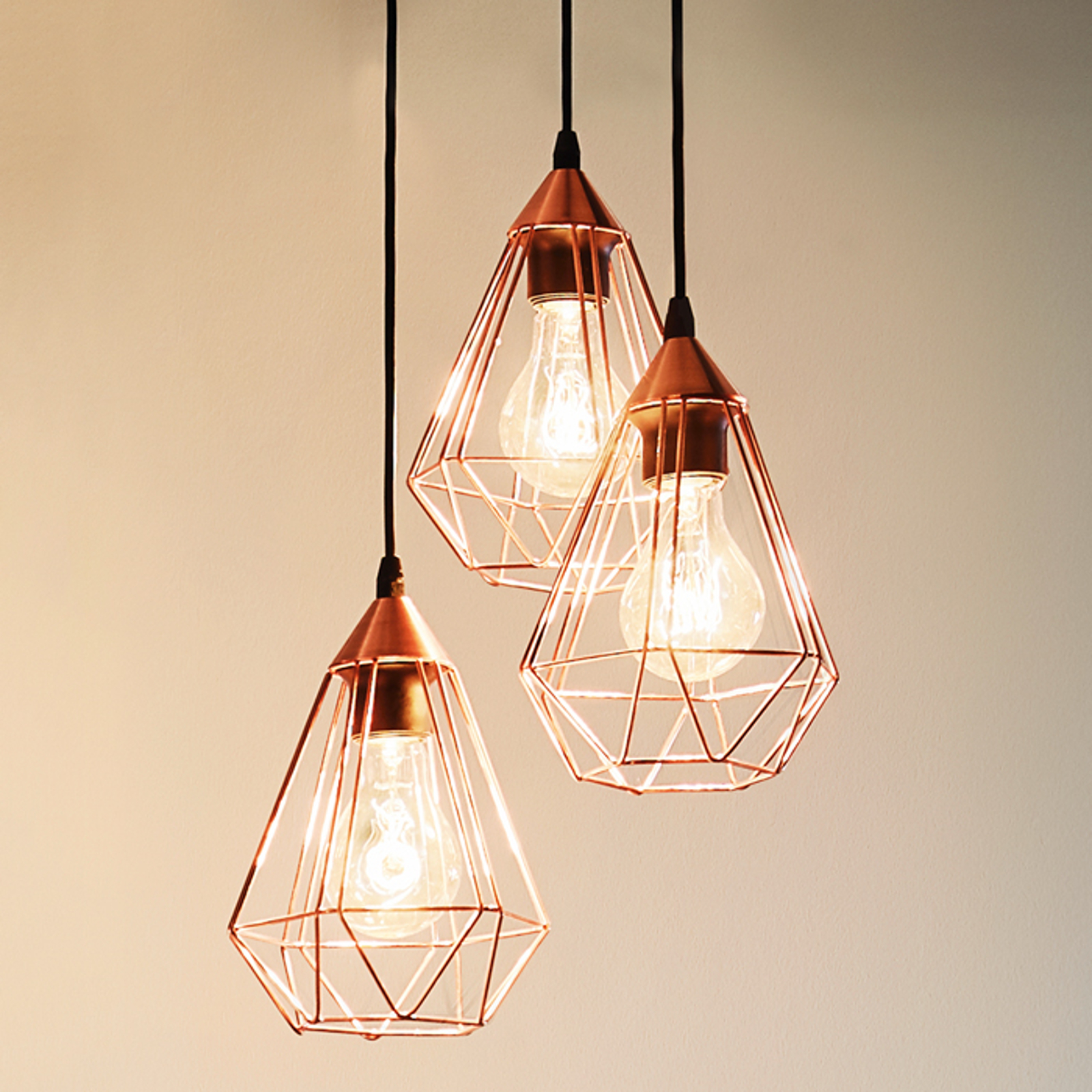 Koper-glanzende hanglamp Tarbes - 3-lichts