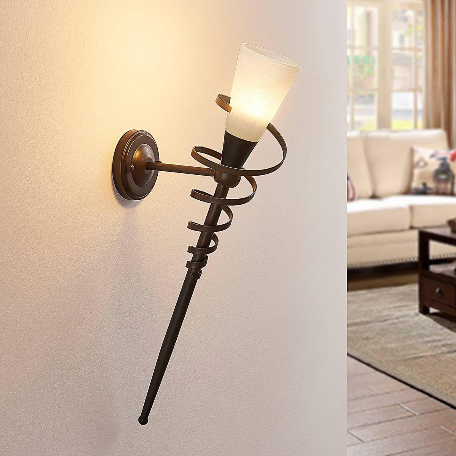 Roestkleurige LED-wandfakkel Tjark