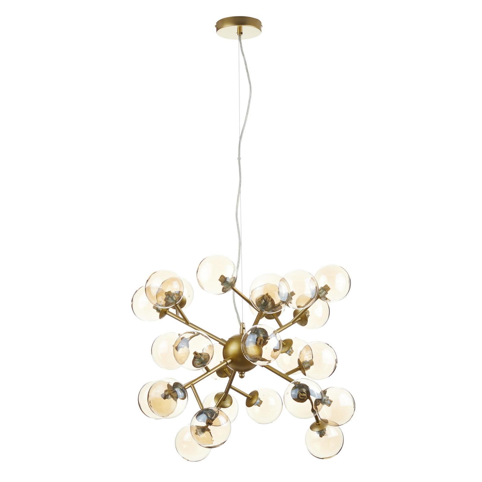 Lampa wisząca Dallas z 24 szklanymi kulami, złota