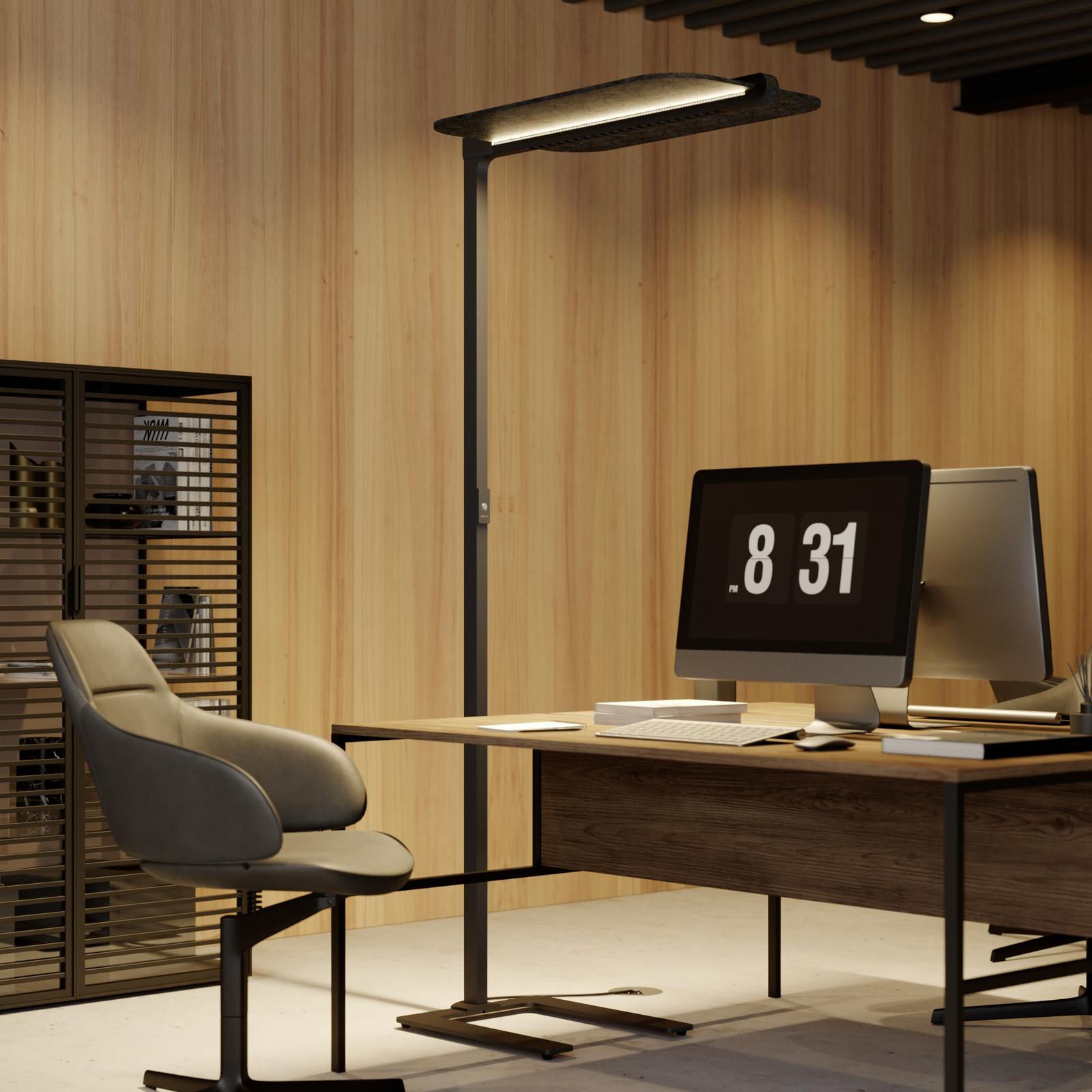Arcchio Ameir LED kantoor vloerlamp, vilt grijs